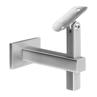 Adjustable handrail bracket, Square Line, f. wall, stainless steel 304 2 pcs. rectangular round satin M8 indoor wall Handrail bracket, variable at tube Ø5,5 mm Ø42,4 mm 100 mm 20x20 mm 91 mm 4145