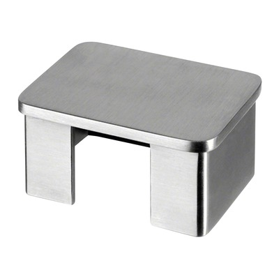 "Flat end cap for cap rail, rectangular, 2 pcs. rectangular indoor cap rail End cap for cap rail rectangular 1,5 mm 60x40 mm 60x40 mm 6732 2 pcs. 304 stainless steel satined 4 mm 0.16"" 0.06\"" 2.36x1.57\"" 2.36x1.57\"""