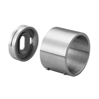 "Wall flange with blind connection, 2 pcs. round round outdoor wall Wall flange at tube Ø48,3 mm 0050/0051/0052 16,5x8,5 mm 0504 Ø56 mm 2 pcs. satined 316 stainless steel 35 mm Ø1.9"" 0.65x0.33\"" 1.38\"" Ø2.2\"""
