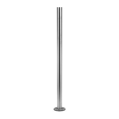 Baluster post, MOD 0912, Ø42,4 mm x 2 mm, stainless steel 316 1 pc. round satin outdoor floor Baluster post 2 mm Ø42,4 mm 989 mm Ø9 mm 0912