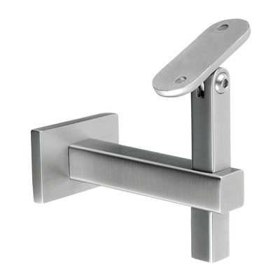 Adjustable handrail bracket, Square Line, f. wall, stainless steel 316 2 pcs. rectangular rectangular satin M8 outdoor wall Handrail bracket, variable at tube Ø5,5 mm 40x10/40x40/60x20/60x30 mm 20x20 mm 4145 100 mm 91 mm