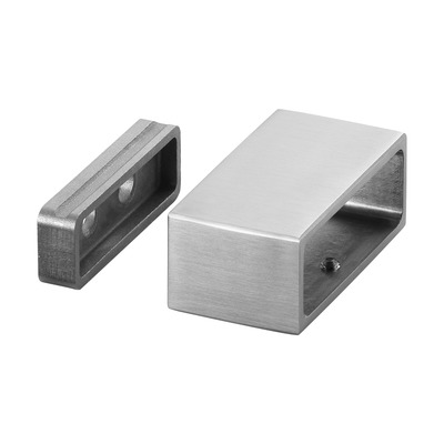 "Wall flange, Square Line, 2 pcs. rectangular rectangular outdoor wall Wall flange at tube Ø8,5 mm 60x20 mm 4504 66,5x26,5 mm 2 pcs. satined 316 stainless steel Ø0.33"" 35 mm 1.38\"" 2.36x0.78\"" 2.62x1.04\"""