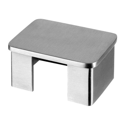 "Flat end cap for cap rail, rectangular, 2 pcs. rectangular outdoor cap rail End cap for cap rail rectangular 1,5 mm 60x40 mm 60x40 mm 6732 2 pcs. satined 316 stainless steel 4 mm 0.16"" 0.06\"" 2.36x1.57\"" 2.36x1.57\"""