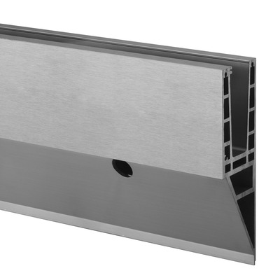 "Easy Glass Max ""Y"", base shoe, fascia mount, aluminium 1 pc. outdoor floor/wall glass Ø14 mm 80 mm 2500 mm 19 - 31,52 mm 257,5 mm 6936 brushed, anodised Ø0.55"" 3.15"" 8.2' 8.2' 10.14"" Base shoe, Easy Glass Max ""Y"", Side Mount, 25µm laminated/mono 27/32"" - 1-1/4"""