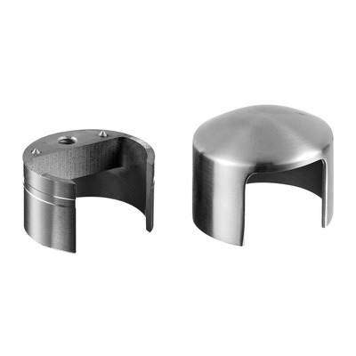 Arched end cap, incl. 1 adapter, stainless steel 304 2 pcs. round satin indoor wooden cap rail Arched end cap for wooden cap rail round 25 mm Ø42 mm Ø42 mm 6729