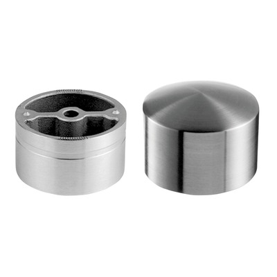 Arched end cap, incl. 1 adapter, stainless steel 304 2 pcs. round satin indoor at tube Arched end cap for wooden handrail Ø5 mm round 25 mm 0729 Ø48 mm Ø48 mm