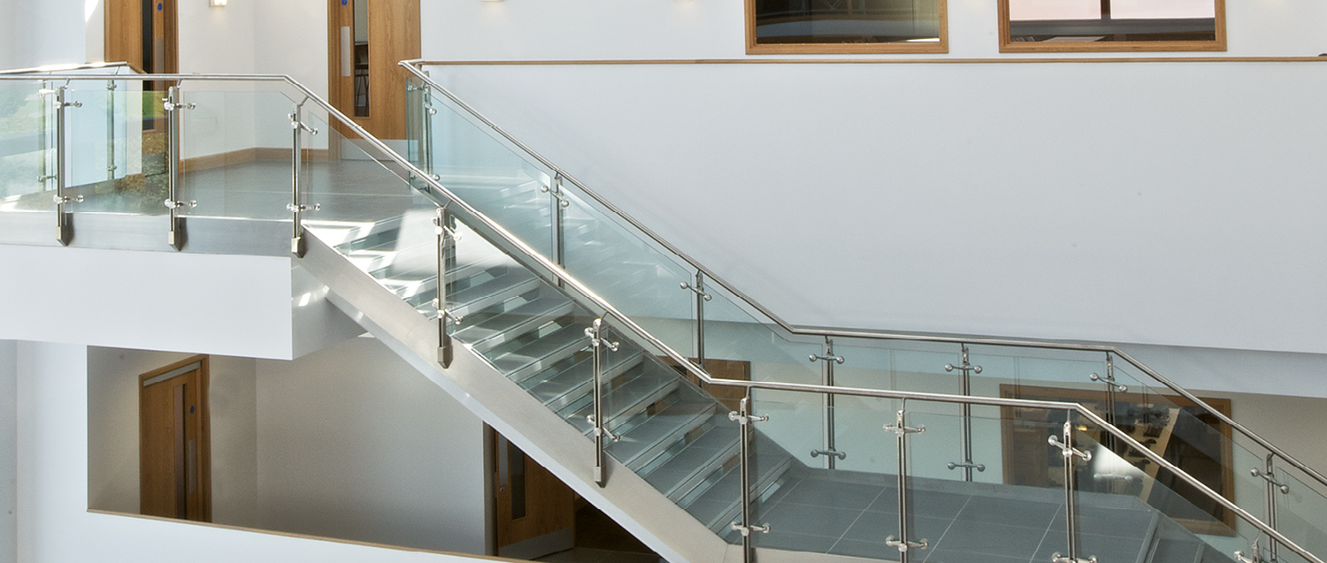 Glass railing / with panels / outdoor / for stairs D LINE Q Railing Europe  Holding ...